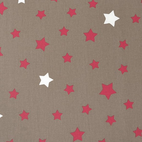 WIPEABLE TABLECLOTH STARS TAUPE RED Fleur de Soleil