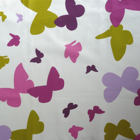 Cotton fabric Butterfly green/purple